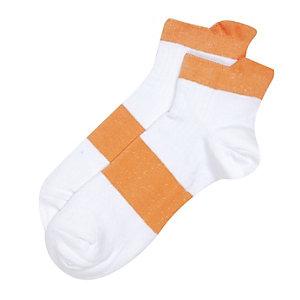White orange block stripe sneaker socks