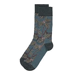 Green floral socks