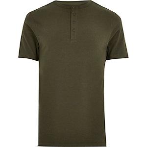 Khaki muscle fit grandad t-shirt