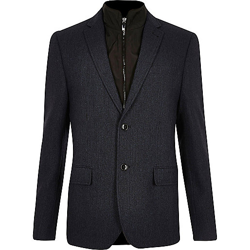 Navy insert slim fit blazer