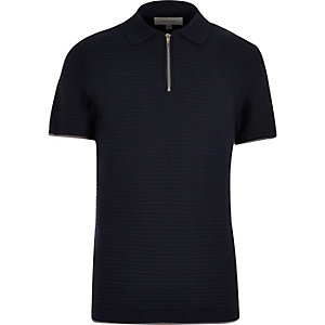 Navy zip placket polo shirt