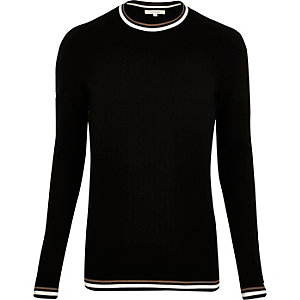 Black tipped crew neck sweater