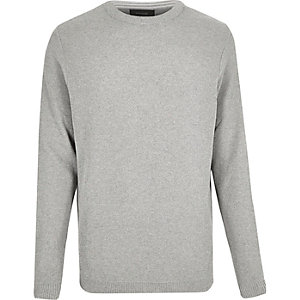Grey stitch crew neck sweater