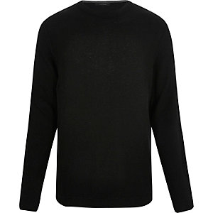 Black textured crew neck sweater