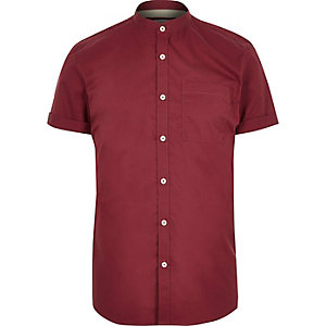 Red twill grandad short sleeve shirt