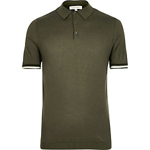 Dark green tipped knitted polo shirt