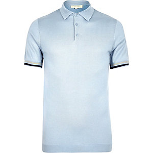 Light blue tipped knitted polo shirt