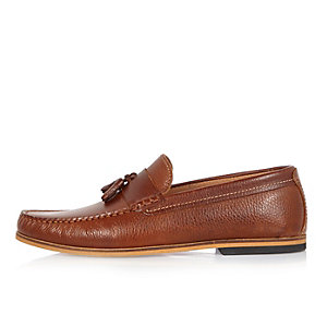 Medium brown tumbled leather loafers