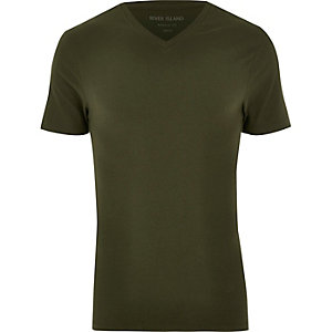 Dark green V-neck muscle fit t-shirt