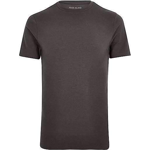 Grey muscle fit T-shirt