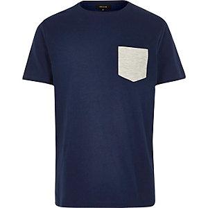 Navy textured chest pocket t-shirt