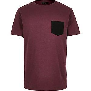 Dark red textured chest pocket t-shirt