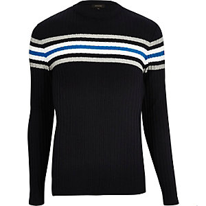 Navy stripe ribbed slim fit sweater