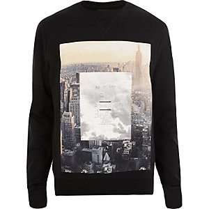 Black New York City print sweatshirt
