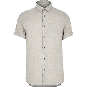 Grey placket detail short sleeve shirt