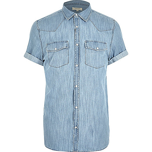 Blue casual western short sleeve denim shirt