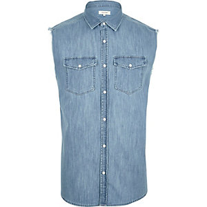Mid blue fade sleeveless denim shirt