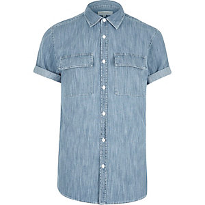 Mid blue wash Western short sleeve shirt