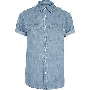 Mid blue wash Western short sleeve shirt