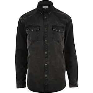 Chemise en jean casual noir délavé style Western