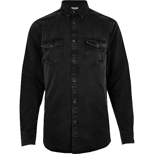 Black distressed Western denim shirt