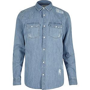 Mid blue wash denim ripped shirt
