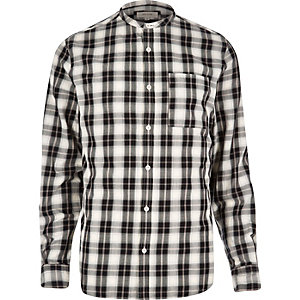 Ecru checked grandad shirt