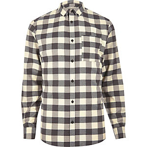 Ecru and black check shirt