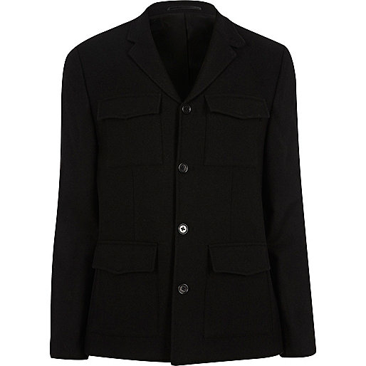 Black slim fit patch pocket blazer