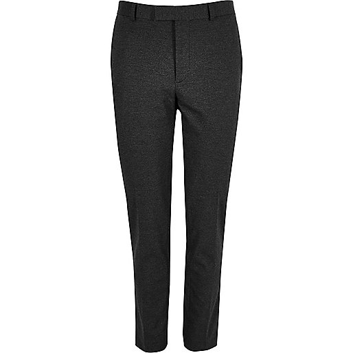 Grey flecked skinny suit trousers