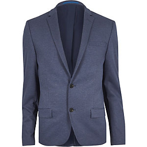Blue flecked muscle fit suit jacket