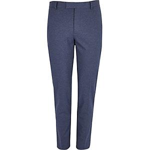 Blue flecked muscle fit suit pants