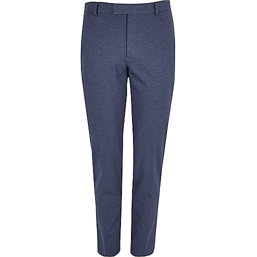 Blue flecked skinny fit suit trousers