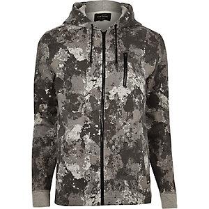 Grey camouflage print zip hoodie