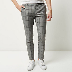 Grey checked skinny pants