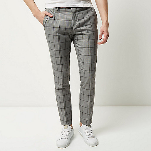 Grey checked skinny trousers