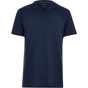 Navy textured polo shirt