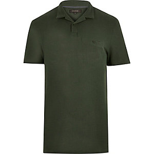 Khaki textured polo shirt
