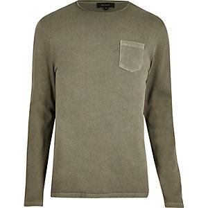 Khaki crew neck sweater
