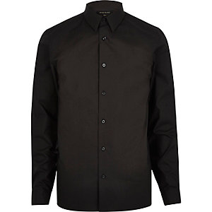 Black slim fit poplin shirt