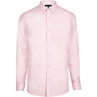 Pink poplin slim fit shirt