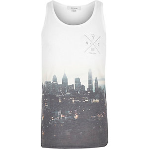 White NYC skyline print tank