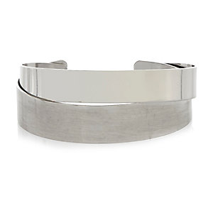 Grey silver tone double cuff pack