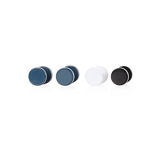 Blue block plug earrings