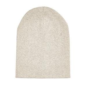Ecru knitted beanie hat