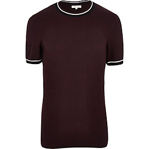 Dark red tipped knitted ringer t-shirt