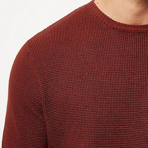 Strukturierter Pullover in Dunkelorange