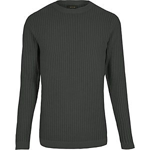 Dark grey ribbed slim fit jumper