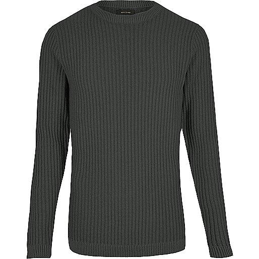 Dunkelgrauer, schmaler Ripp-Pullover