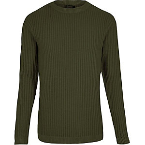 Dark green ribbed slim fit sweater